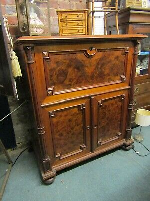 Stunning Antique French Flame Mahogany Inlaid Horse Head Bureau Desk Cupboard