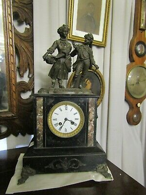 Lovely Antique French Slat & Spelter Mantle Clock In Working Order,