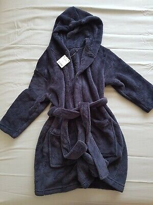 Fabulous Boys Next Soft Fluffy Navy Blue Hood Dressing Gown Robe Age 4-5 Years