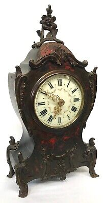 Antique French Boulle Ormolu Red Tortoise Shell Veneered Mantel Bracket Clock