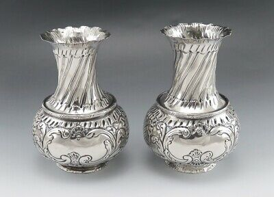 Lovely Pair Antique European Silver Hand Chased Vases