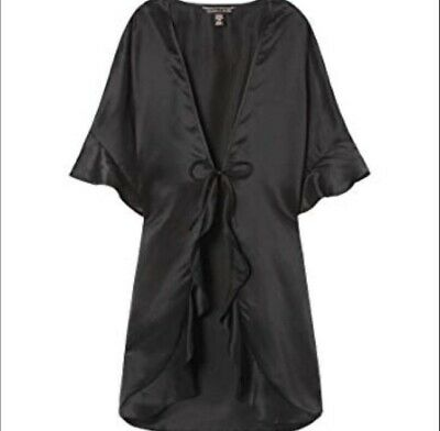 Victoria's Secret Sexy Slip Wrap Kimono Robe Black ONE SIZE NWT *FREE SHIPPING*