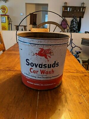 Vintage Socony Mobil Oil Sovasuds Car Wash Tin Bucket