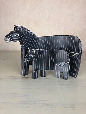 Mother And Baby Curved Figurines Zebras Black White Stripes Home Decor Cute