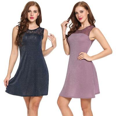 Women Sexy Sleeveless Hollow Lace Patchwork Glitter Evening Party Club RCAI 04