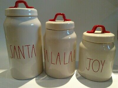 Rae Dunn Xmas Canister.SANTA Falala JOY 3 Sizes Set cookie jar NEW coffee sugar