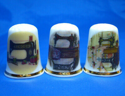Birchcroft China Thimbles -- Set of Three -- Cross Stitch Singer Sewing Machines