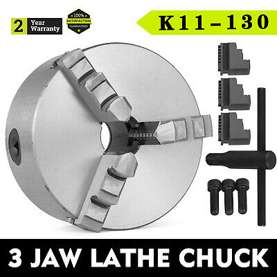 K11-130 130mm 3 Jaw Self Centering Lathe Chuck 5 Inch Cast Iron Wood Turning