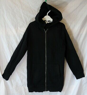 Girls H&M Plain Black Casual Zipped Hooded Jacket Hoodie Age 7-8 Years