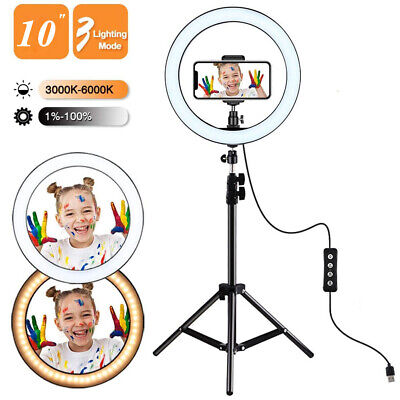 """10"""" LED Ring Light with Stand Dimmable Lighting Kit Makeup Live for Phone Camera"""