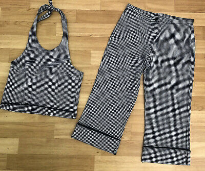 Next Girls Top & Trousers Set Outfit Age 9 Blue White Gingham Halterneck Summer