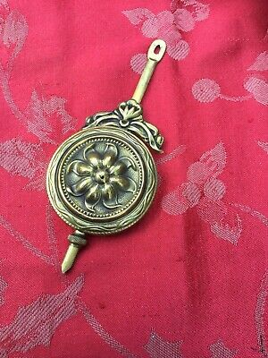 "Very Ornate   Bob Brass Face Clock Pendulum 55grams  5"" Long 2 1/8 Dia"