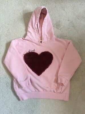 Zara girls Pink heart hoodie top age 8 years