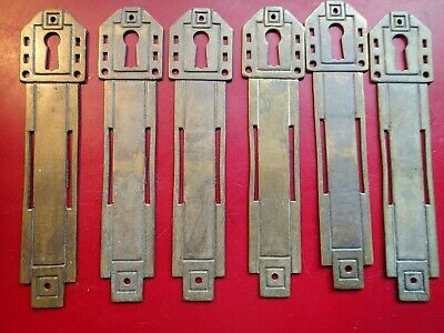 Lot of 6 VINTAGE ART DECO CABINET DOOR KEY HOLE BRASS COVERS Escutcheon EUROPE