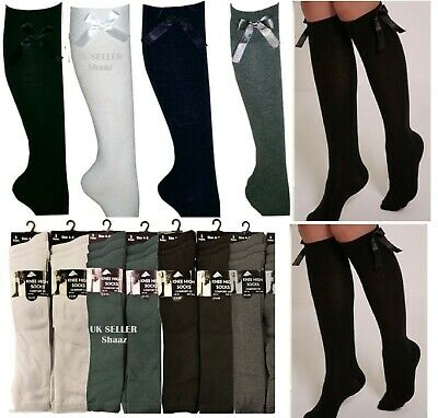 School Girls Socks Girls Knee High With Bows Long Cotton Rich Socks  Pairs kids