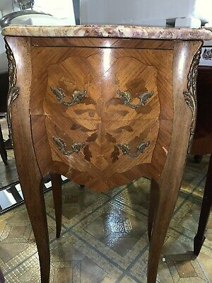 French Louis XV Style Inlaid Wood With Italian Marble Top