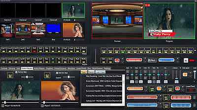 Video Live Streaming Software with Video switcher mixer green screen removal