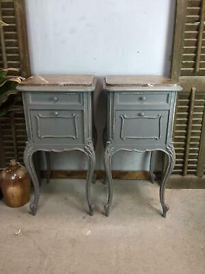 Pair of French marble top Bedsides / Antique French Bedsides / Bedside Tables
