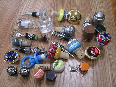 Lot of 27 Bottle Decanter Toppers Stoppers & 1 Bottle Opener