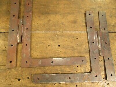 One  Pair  10'' X 10 1/2 Antique  Hand  Forged  Barn  Door  Hinges