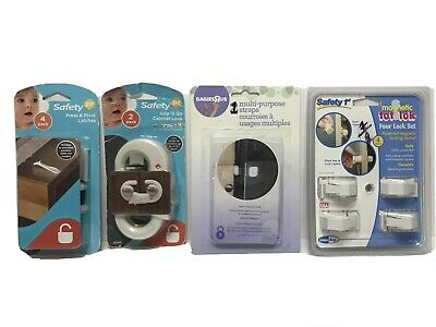 SAFETY 1st magnetic lock, cabinet lock, press & pivot latches, & strap bundle.