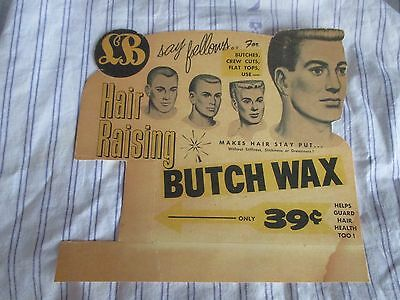 Rare 1940's L B POMADE BUTCH Wax Drawings Barbershop Color Sign CREW FLAT BUTCH