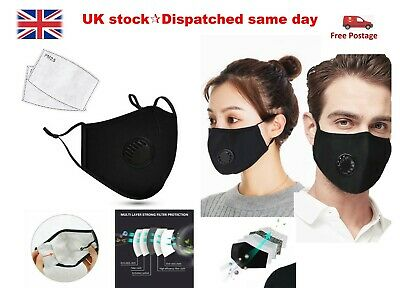 Reusable Washable PM2.5 Anti Pollution Face Mask + Two Activated Carbon Filters