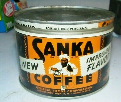 vintage Sanka coffee tin with cover  General foods NY NY very nice