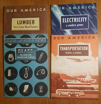 4 1940's Coca Cola Sticker Books, Our America: Lumber, Glass, Electricity, Trans