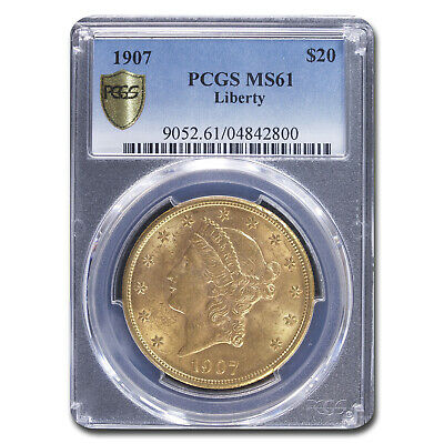 1907 $20 Liberty Gold Double Eagle MS-61 PCGS - SKU#8635