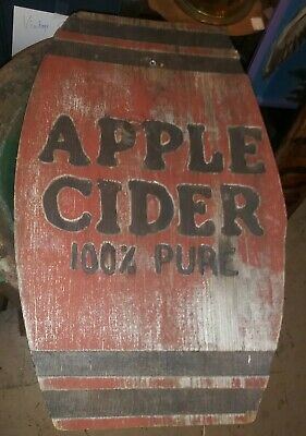 "Vintage Hand Carved And Painted Sign APPLE CIDER 100% PURE 18""×11"" Folk Art"