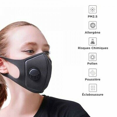 Masque De Protection   Réutilisable Lavable -+ 1 filtre pm2.5 en stock en france