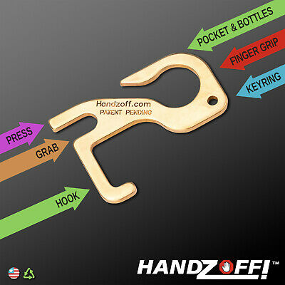 HANDZOFF Hygiene Hand Brass Antimicrobial Door Opener, Stylus and Button Pusher