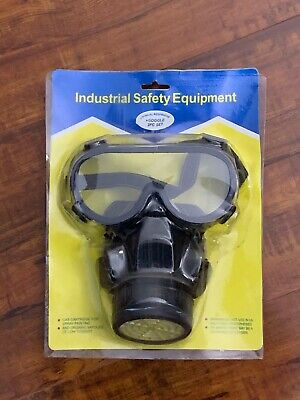 Dual Protection Emergency Gas Mask Respirator Filter Chemical Safety Goggles