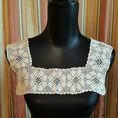 Antique Vintage Crochet Collar Off White Nightgown Dress Top