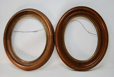 Antique Victorian Carved Walnut Brass Wooden Pair Picture Frames Oval Deep 13x11