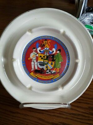 Schweppes Tonic Water Ceramic Ashtray Gold Trim Coat Of Arms Vintage