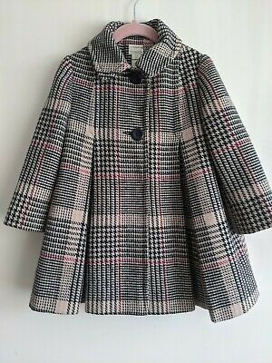 Girls Monsoon Coat Age 3-4 Years Pink Tweed Style Check Pleated Wool Blend