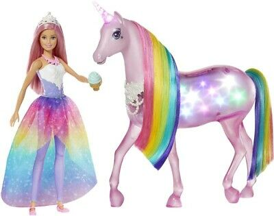 Barbie Dreamtopia Magical Lights Unicorn Playset Light and Sounds NEW