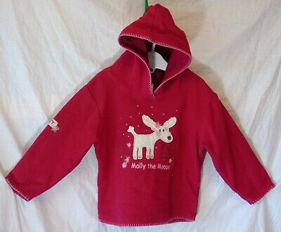 Baby Girls Next Red Sparkly Molly Moose Fleece Hooded Jumper Age 18-24 Months