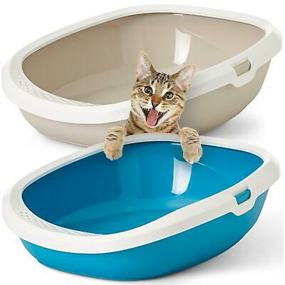 CatCentre® Large Cat Litter Tray Box High Sided Rim Deep Portable Toilet Pan Loo
