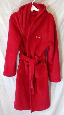 Boys Personalised Euan Red Soft Fleece Hooded Dressing Gown Robe Age 12-13 Years