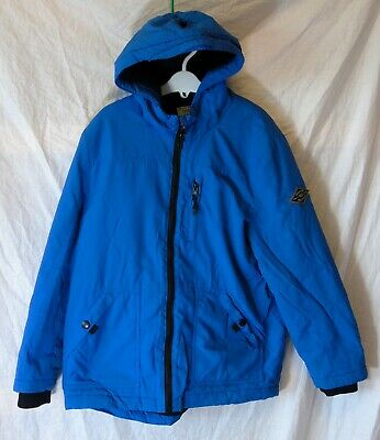 Boys George Royal Blue Black Hooded Padded Fleece Lined Warm Coat Age 9-10 Years