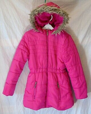 Girls George Cerise Pink Faux Fur Trimmed Puffa Padded Parka Coat Age 8-9 Years