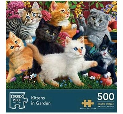 500 Piece New and Sealed. Kittens in the Garden Corner Piece Jigsaw Puzzle