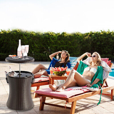 Rattan Style Outdoor Cool Bar Ice Cooler Table Garden Furniture - Brown