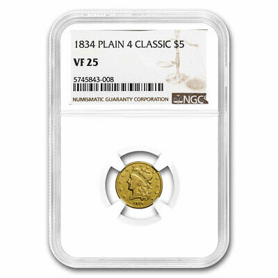 1834 $5 Gold Classic Head Half Eagle Plain 4 VF-25 NGC - SKU#211730