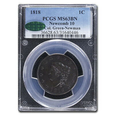 1818 Large Cent MS-63 PCGS CAC (Brown, N-10) - SKU#212279