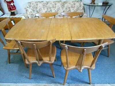 Mid-century Ash dining table with 6 chairs (1 leaf)