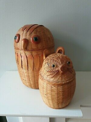 Vintage Chinese Wicker Owl & Pussycat Baskets